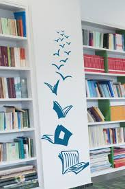 Books Have Wings Wall Art Library Decor In 2020 Wall Stickers For School Book Wall Library Decor
