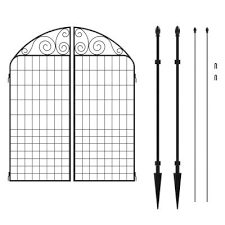 Vigoro Rockdale 43 8 In Black Steel Fence Panel 3 Pack 860244 The Home Depot