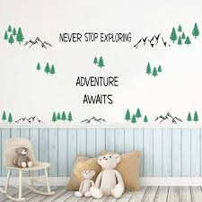 Amazon Com Inspirational Quotes Wall Decals Never Stop Exploring Adventure Awaits Wall Stickers Trees Mountain Nature Wall Art For Classroom Playroom Nursery Home Decor Arts Crafts Sewing