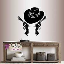 In Style Decals Wall Vinyl Decal Home Decor Art Sticker Calvary Cowboy Hat And Two Pistols Six Shooters Western Guy Man Removable Stylish Mural Unique Design For Any Room 213 Amazon Com