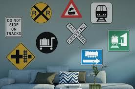 Railroad Signs Wall Decal Sticker Set Wall Decal Wallmonkeys Com
