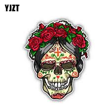 Yjzt 10 5cm 13cm Rose Sugar Skull Day Of The Dead Car Sticker Window Decal 6 1307 Car Stickers Aliexpress