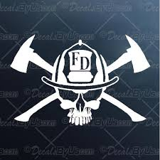 The Hottest Firefighters Skull Car Stickers