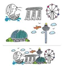 merlion cartoon singapore vector images