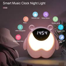 Cute Bear Alarm Clock Night Light Rgb Wake Up Light With Music Children S Room Sensor Table Lamp Usb Desk Lamp Kid Gift Buy At The Price Of 14 24 In Aliexpre In