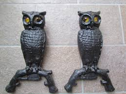 cast iron owl fireplace andirons w