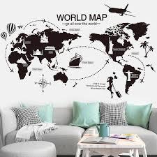 Black World Map Wall Sticker Vinyl Diy World Travel Landmarks Wall Decals For Living Room Bedroom Study Wall Decoration Sticker Wall Stickers Aliexpress