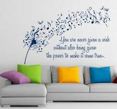 Free Shipping Dandelion Wall Decals Music Quote Musical Notes Etsy