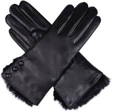 las wool and fur lined leather glove