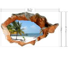 3d Beach Wall Decals 38 Inch Removable Sea Wall Art Stickers Home Decor Alexnld Com
