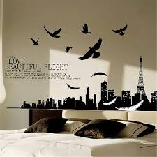 Solid Black City Flying Birds Quote Removable Pvc Vinyl Decals Home Decoration Art Mural For Living Room Bedroom Wall Stickers Decoration Art Vinyl Decalhome Decor Aliexpress
