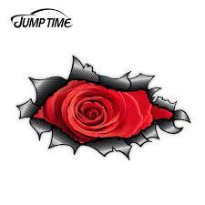 Jump Time Ripped Torn Vinyl Decal Fiber Design With Beautiful Red Rose Motif External Vinyl Car Sticker For Windows Bumper Car Stickers Aliexpress