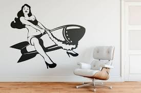 Sexy Pinup Girl Riding A Bomb Wall Decal Old Iconic And Etsy