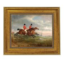 Traditional Taking The Fence Together Fox Hunting Horse Framed Oil Painting Print On Canvas Chairish