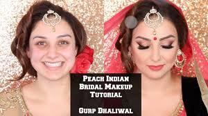 peach indian bridal makeup tutorial