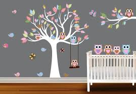 Furniture Awesome Christmas Tree Wall Decal On White Living Room Wall Paint Colour Schemes Owl Themed Nursery Baby Room Wall Stickers Nursery Wall Decals Girl