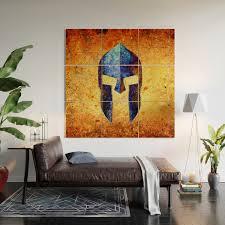 Blue Spartan Helmet On Rust Background Molon Labe Wood Wall Art By Molonlabecreations Society6