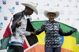 Biruktayit Degefa enjoys women's hat trick in Houston Marathon -  HoustonChronicle.com