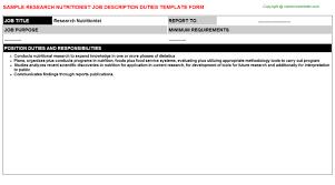 nutritionist job templates
