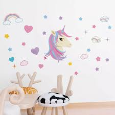 Unicorn Rainbow Cloud Star Heart Wall Decal Wall Sticker Kids Nursery Home Decor Unicorn Stars Rainbow Wall Stickers Crib Netting Aliexpress