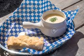 Seafood Chowder Served In A Restaurant ...