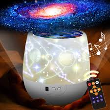 Amazon Com Kistra Remote Star Projector Night Light For Kids Room 6 Films Infant Sleep Sound Machine 360 Rotating Led Starry Sky Nightlight Music Player 18 Songs Timer Table Lamp Best Gifts Xgu 002 Home