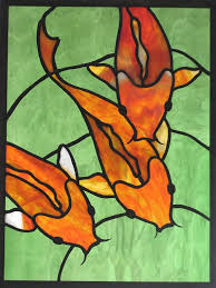 stained glass koi panel window art fish