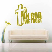 In God We Trust Cross Vinyl Car Window Decal Sticker Religious Decal