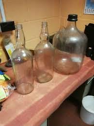 2x large glass whisky bottles 1 x large