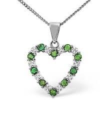 emerald heart pendant white gold