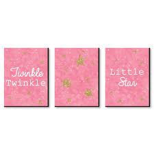 Pink Twinkle Twinkle Little Star Baby Girl Nursery Wall Art Kids Room Decor 7 5 X 10 Set Of 3 Prints Walmart Com Walmart Com