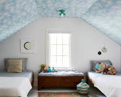 Kids Room With Blue Cloud Painted Ceiling Transitional Boy S Room