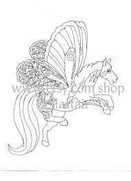 Hand Getrokken Mythische Paard Kleuren Kleurplaat Fantasie Etsy