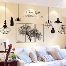 Waliicorners Black Tree Wall Stickers Diy Nordic Style Chandelier Mural Decals For Living Room Bedroom Restaurant Decoration Waliicorner S Store