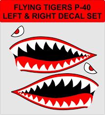 P 40 Flying Tigers Vinyl Decal Sticker Shark Teeth Hobby Ww2 Etsy