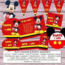 Kit Imprimible Editable Cumpleanos Mickey Mouse 64 00 En