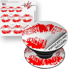 Amazon Com Decal Style Vinyl Skin Wrap 3 Pack For Popsockets Big Kiss Lips Red On White Popsocket Not Included By Wraptorskinz Everything Else