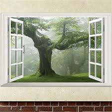 Amazon Com Super1798 Green Old Forest Tree 3d Window View Living Room Wall Sticker Home Diy Decal Home Kitchen