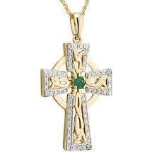 14k gold diamond emerald celtic cross