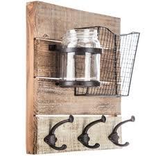 wood wall organizer with jar hobby