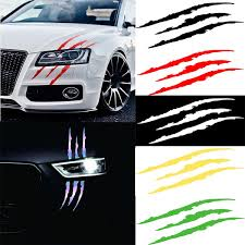 1pcs Car Styling Headlight Decal Sticker Reflective Claw Mark Scratch Bloody Sticker Waterproof Vinyl Auto Decal For 6 Colors Wish