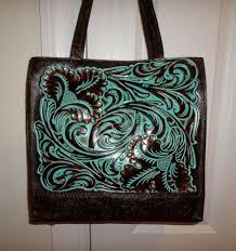 tooled leather tote handbag purse