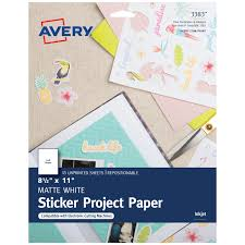 Avery Printable Sticker Paper Matte White Inkjet 15 Sheets 3383 Walmart Com Walmart Com