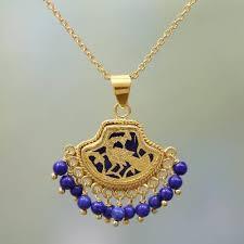 lapis lazuli peacock pendant necklace