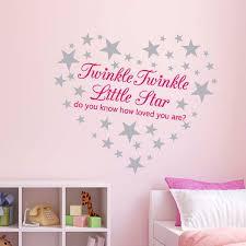 Pink Twinkle Twinkle Little Star Wall Sticker Nursery Decal 60 Silver Stars Ebay