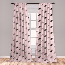 East Urban Home Ambesonne Eyelash Curtains Doodle Style Open And Closed Eyes Hand Drawn Sketch Abstract Kids Design Window Treatments 2 Panel Set For Living Room Bedroom Decor 56 X 63 Rose