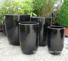 tall glazed black u pot planters