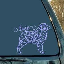 Australian Shepherd Decal Dog Decal Aussie Decal Dog Mandala Decal Mandala Sticker Car Decal L Australian Shepherd Dog Tattoos Dog Decals