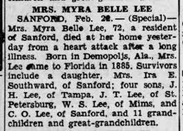 Myra Bell S. Lee Obituary 22 Feb 1950 - Newspapers.com