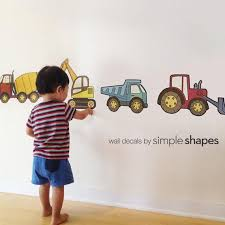 Construction Vehicle Peel And Stick Repositionable Stickers With Images Boys Wall Stickers Construction Vehicle Nursery Truck Room